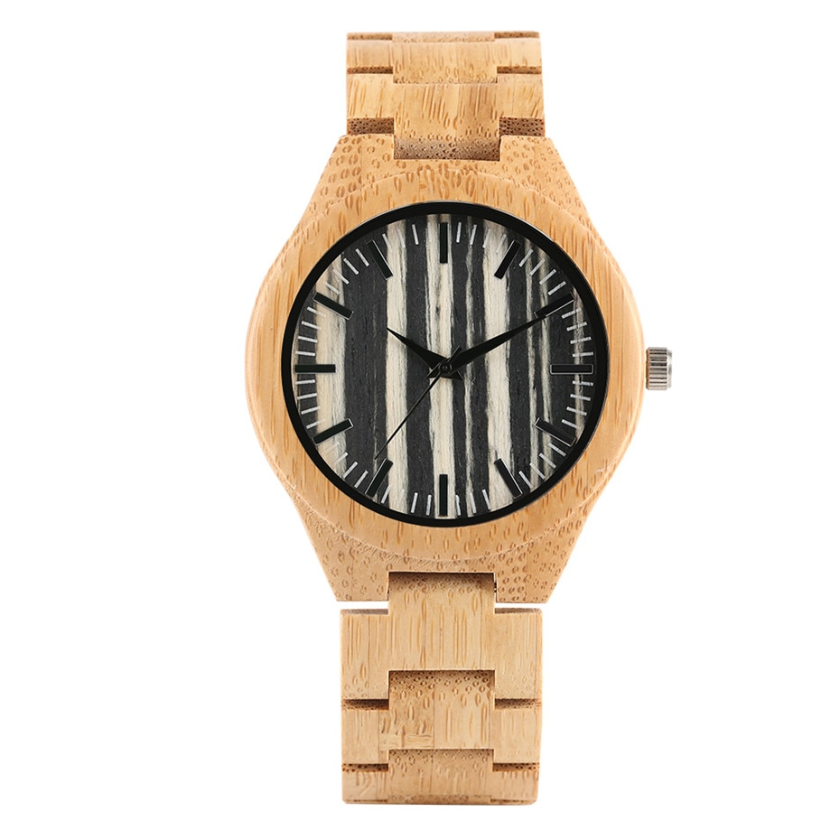 Wood Watch Men Stripe Dial Bamboo Timepieces Casual Watches Bamboo Leather Band Male Clock Gifts New Arrival montre homme black ink world map dial watch natural bamboo wood watch fashion casual leather men quartz analog round wristwatches clock male