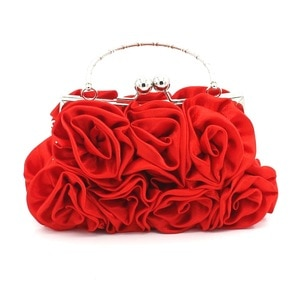 Women's Bags Satin Flower Black / Red / Silver / Wedding Bags Evening Bags