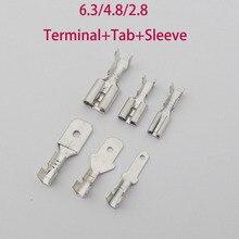 100Pcs 2.8 4.8 6.3 Terminal Tab Sleeve Crimp Terminal Male Female Spade Connector Crimping terminals Cold press terminal