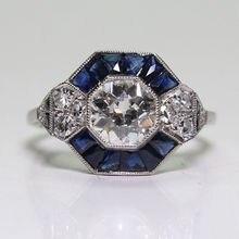 Bague en pierre blanche Vintage anneaux en cristal bleu en alliage de Zinc 2CT pour les femmes bague de fiançailles de mariage Sz 6-10 bijoux de bague de Cocktail
