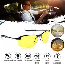 Lunettes de Vision nocturne polarisées Anti-éblouissement   En alliage, à la mode, avec pince à nez transparente, pour la conduite par les hommes, UV400