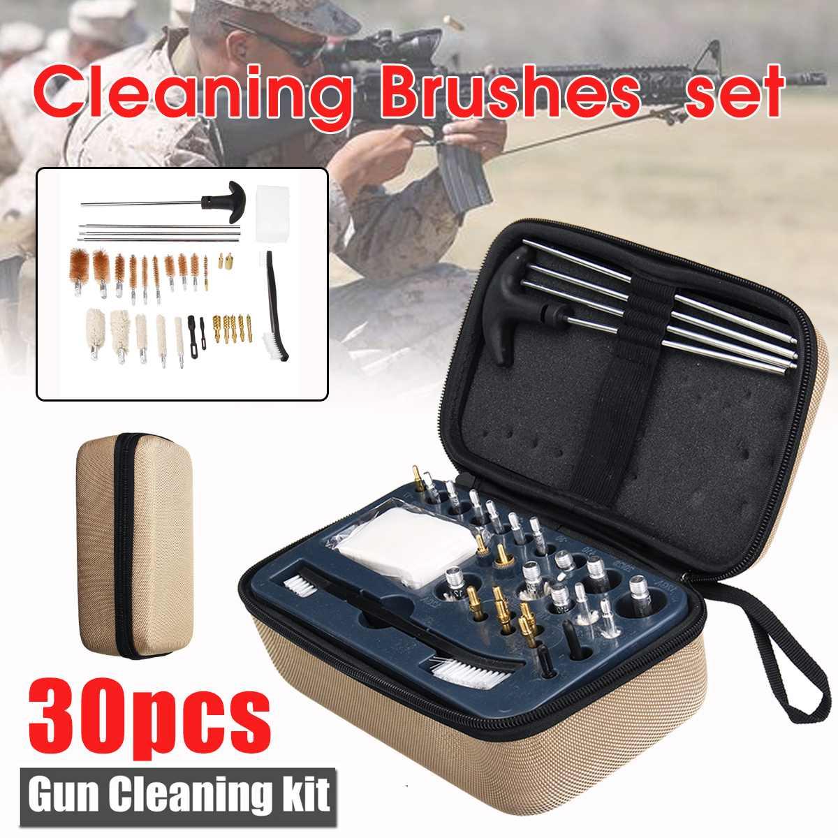 30 En 1 Kit Universal de limpieza de armas para Rifle pistola cepillo para escopeta herramienta Estuche de transporte accesorio de caza