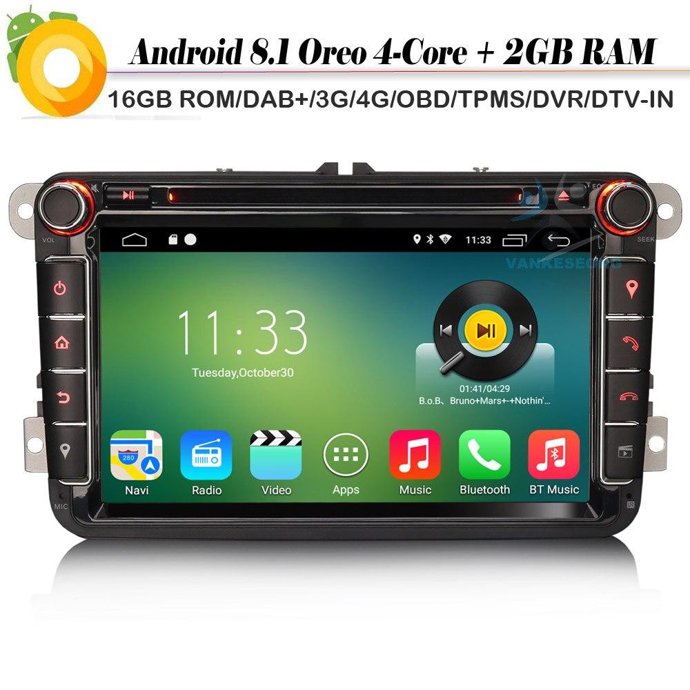 "Autoradio Android 8,1 de 8 "", Radio GPS, DAB + DVD, reproductor Multimedia para VW Passat Golf Polo V 6R Scirocco Skoda Seat"
