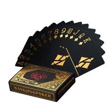 1 Set Playing Cards Set Waterproof Plastic Poker Black PVC Gold Silver Foil Poker Deck Game Card Classic Magic Tricks Tool Joker
