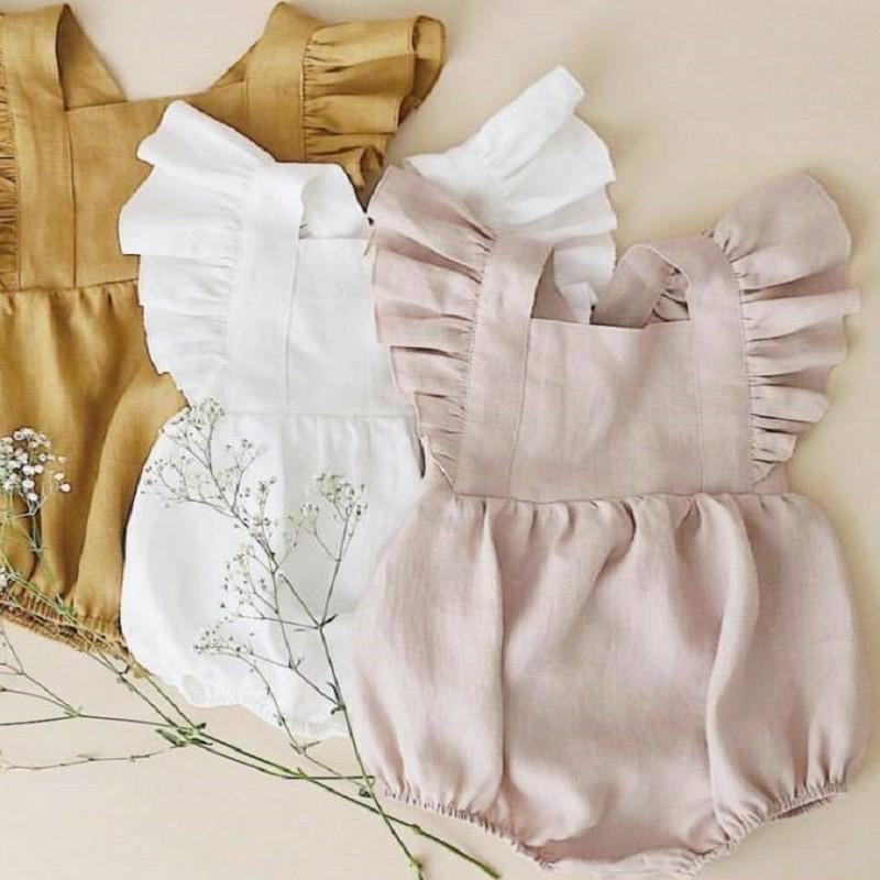 Комбинезон для маленьких девочек; Льняная летняя модная детская однотонная одежда; Светло-розовый комбинезон из хлопка с пышными рукавами; Roupas