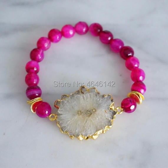 Boho white stalactite Agates gold accents wave natural stone stretch bracelet strand bracelet