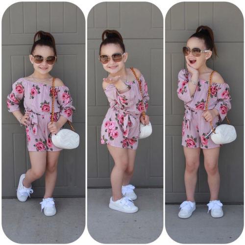 Summer Kids Baby Girls Floral Print Off Shoulder Jumpsuit Sunsuit Outfits Clothes