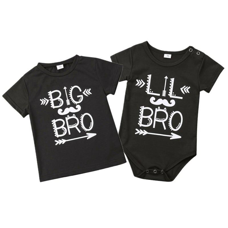 HOT Baby Boys Little Big Brother camisetas de moda de verano para niños pequeños trajes de impresión de letras de manga corta Tops Bodysuit