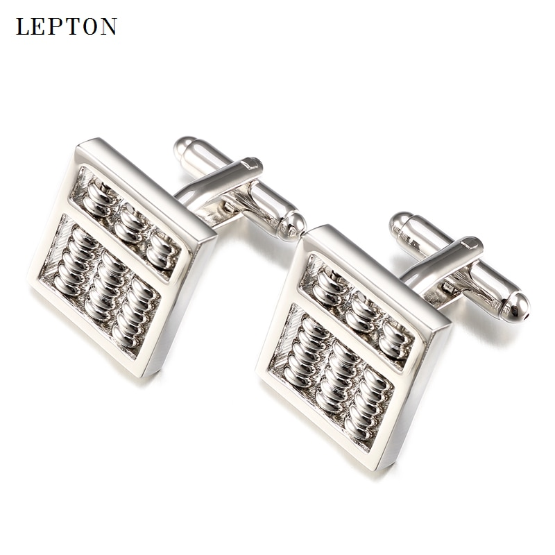 Hot Abacus Cufflinks for Mens Lepton Brand Brass Material Metal Silver color Functional Tool Abacus Cuff links With Gift Box
