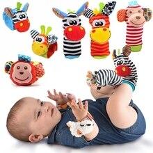 Bande dessinée bébé jouet bracelet chaussettes Animal en peluche hochets jouets pour enfants 0-12 mois nouveau-né pied trouveur chaussette nouveau-né hochet