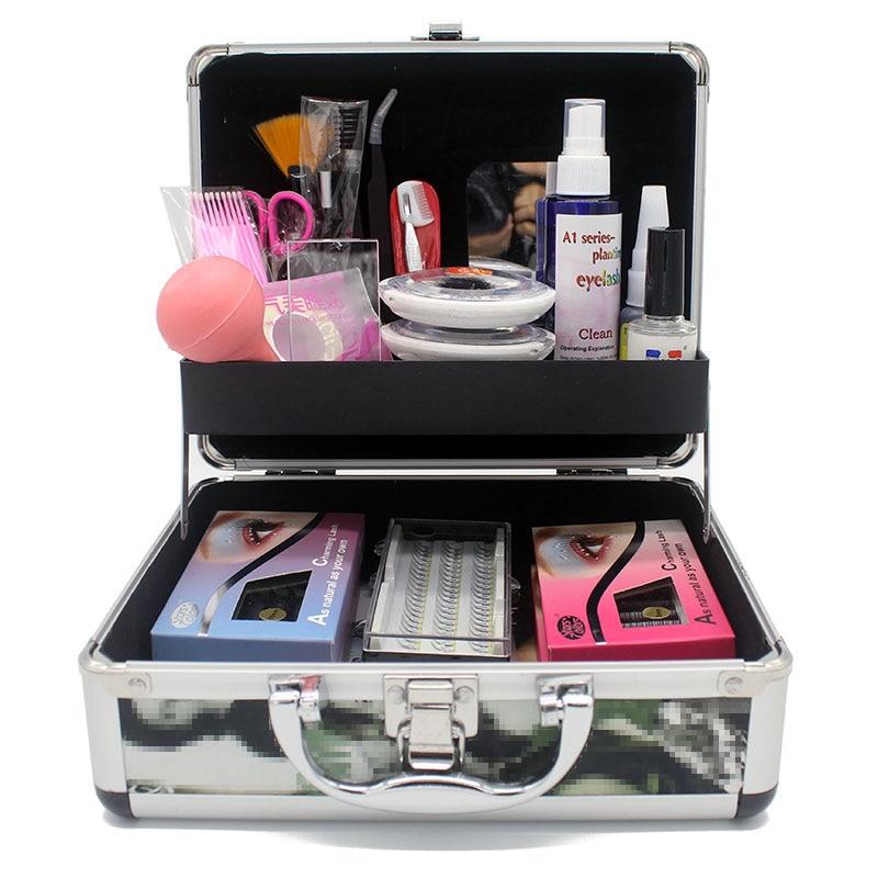 Professional Eyelash Extension Tool Kit Eyelashes Permanent Make Up Individual Faux Lashes Glue Tweezer Practice Graft Lash Kits