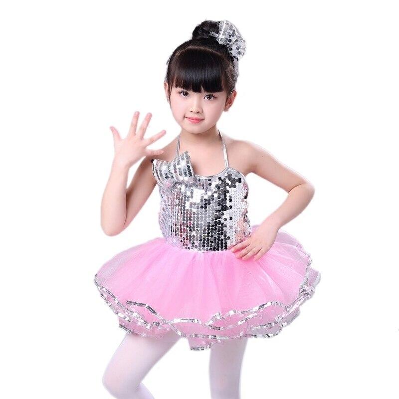 Nueva falda de pompón de baile de Jazz con lentejuelas para jardín de infancia de Songyuexia, traje de baile moderno para niñas