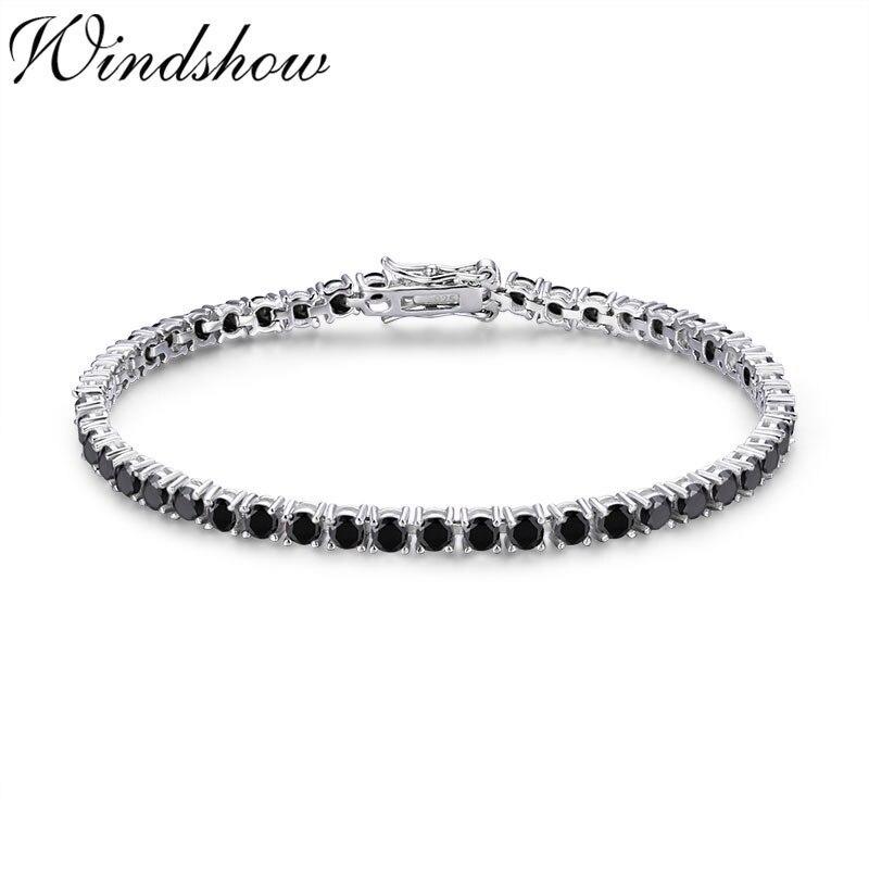 3mm 925 prata esterlina cluster redondo preto cz pedra tênis pulseiras pulseras pulseira bracelete feminino jóias menina amigo presente