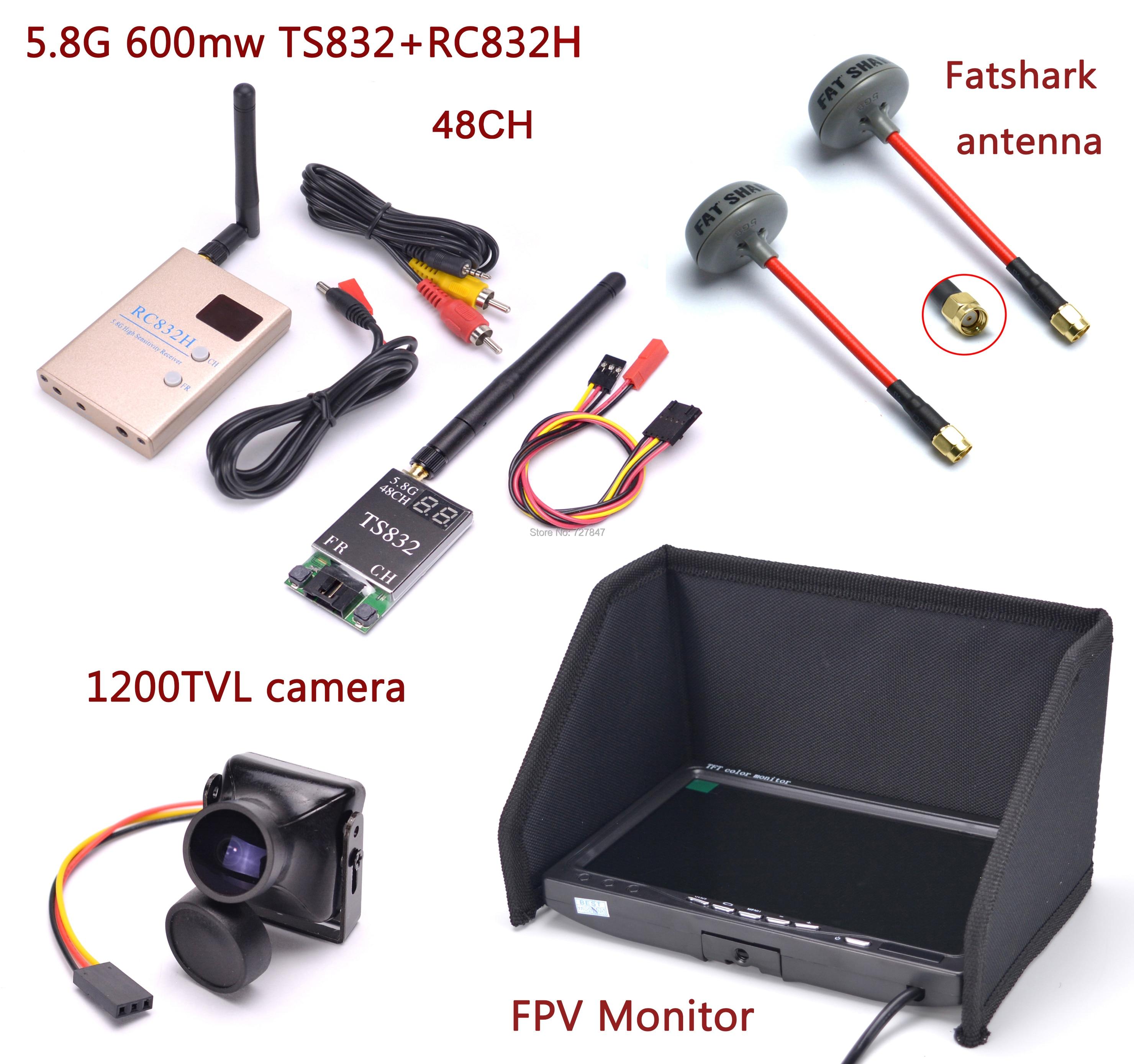 FPV Kit de sistema Combo 1200TVL Cámara + 5,8 Ghz 600mw 48CH TS832 RC832S RC832 + IPS LCD de 7 pulgadas 1024x600 Monitor + antena