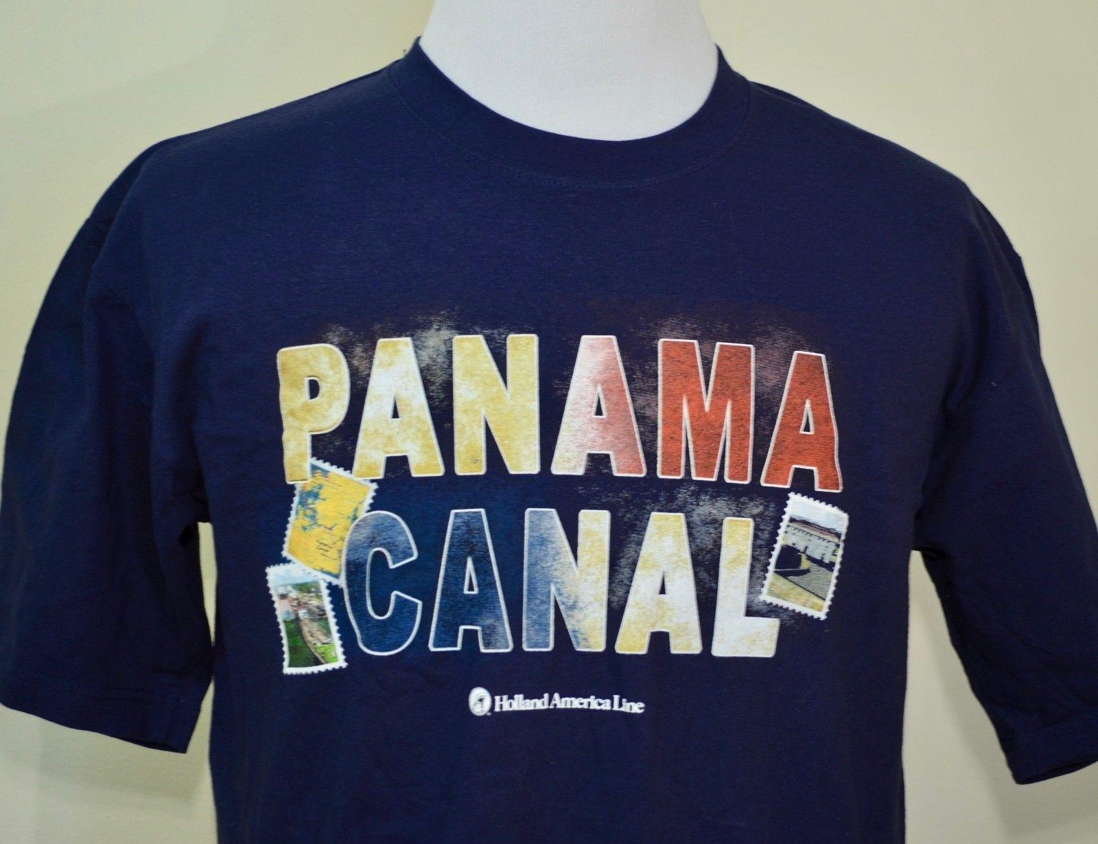 Camiseta del Canal de Panamá grande azul nuevo con la etiqueta Holanda América crucero línea