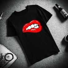 New 100% Cotton Tshirt Sexy Lips Pop Art Design Print Short Sleeve Top & Tee Fashion Casual T Shirt Unisex Brand Clothing