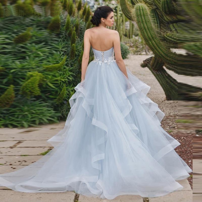 Купить с кэшбэком Blue Wedding Dresses 2019 New Lace Appliques Lace Up Bride Dress Sweetheart Neck Organza Ball Gown Wedding Party Dress