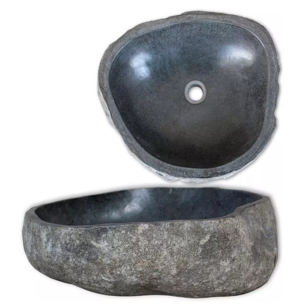 VidaXL lavabo río piedra Oval lavabo de baño 30-35 cm 242666
