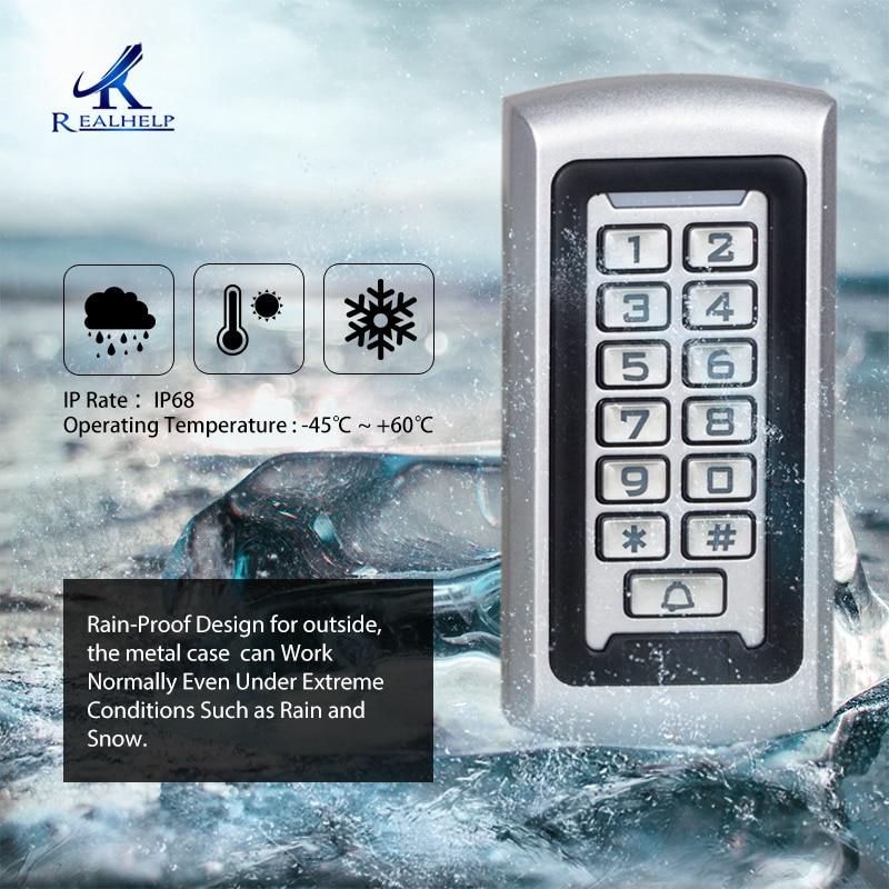 Realhelp Access control system Card Reader 3-10cm 125khz IP68 metal reader Standalone Access Control Keypad Code entrance guard