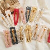 women korea geometric hairpins shiny acrylic rectangle hollow fashion waterdrop girls hair clips hair accessories