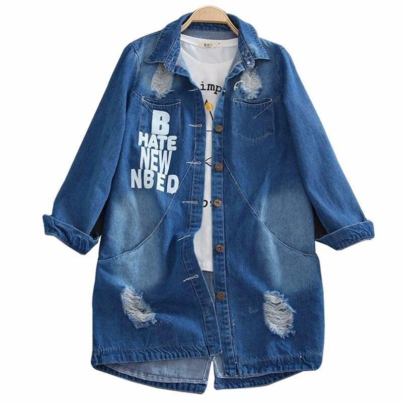 Women Fashion Jeans Coat 9XL 2018 New Spring Autumn Long Sleeve Female Casual Ripped Holes Denim Jacket Long Outerwear PJ22