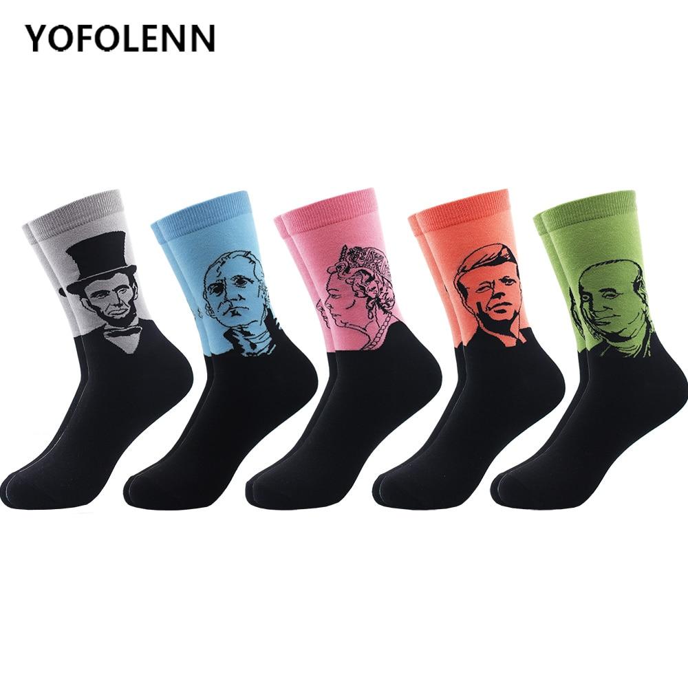 5 пар/лот, мужские носки из чесаного хлопка, популярные забавные мужские длинные носки в стиле ретро с художественной масляной росписью, цве...