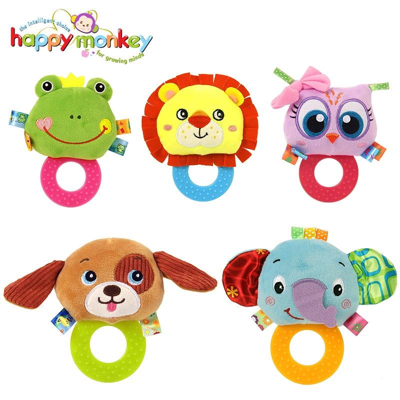 Детские погремушки с счастливой обезьянкой, мягкие милые животные, прорезыватель, развивающие игрушки для детей 0-12 месяцев, подарок для дет...