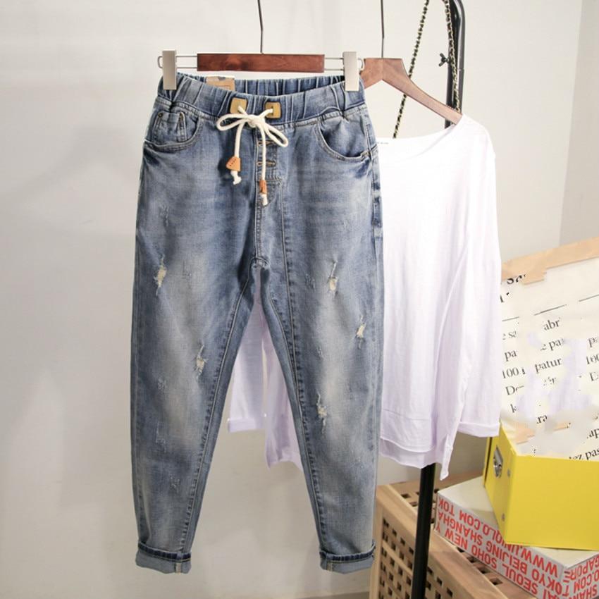 Women Elastic Waist Denim Jeans Femme Loose Harem Jeans Pants Hole Ripped Denim Jeans Casual Trousers Plus Size 4XL недорого