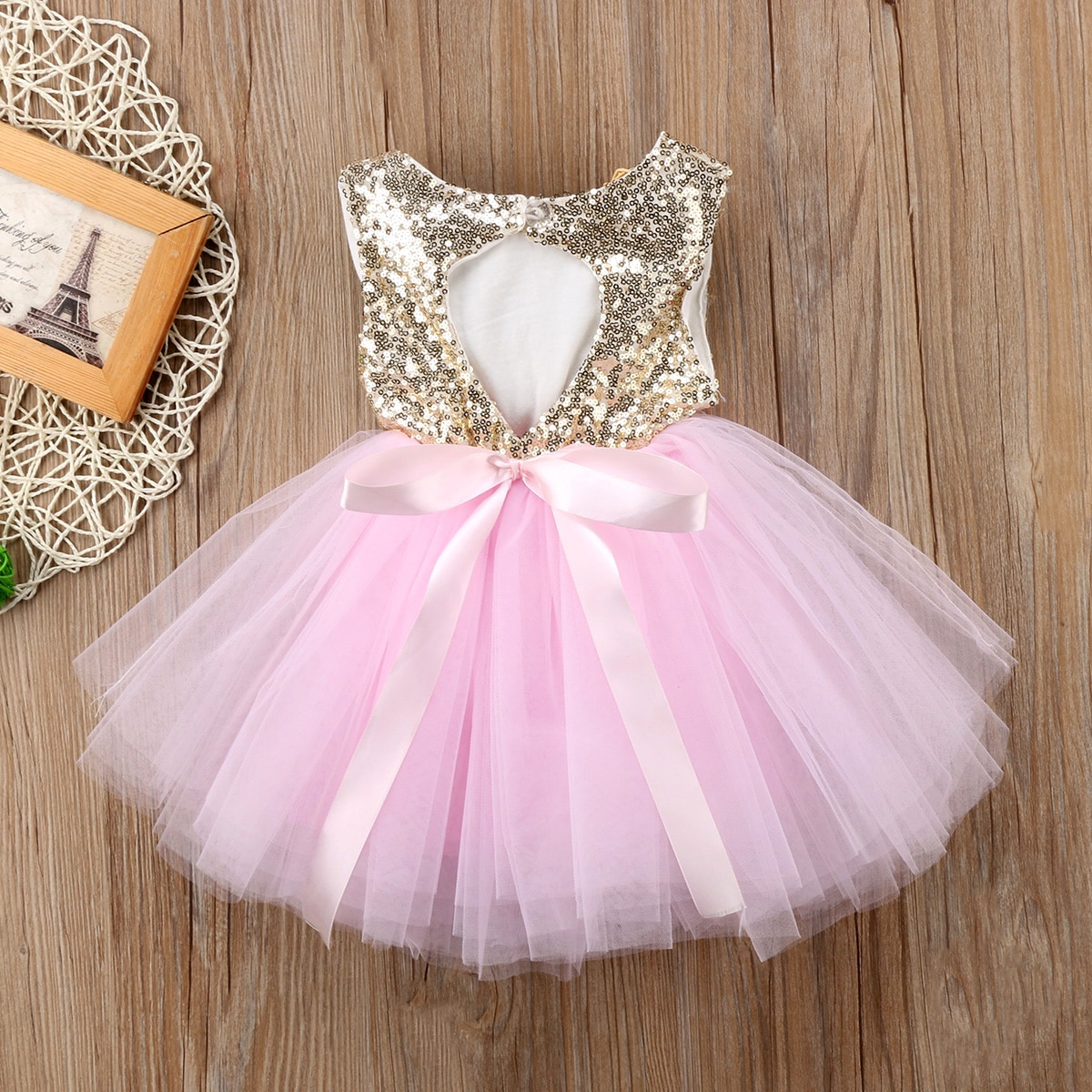Princess Kids Baby Dress For Girls Fancy Wedding Dress Sleeveless Sequins Party Birthday Baptism Dre