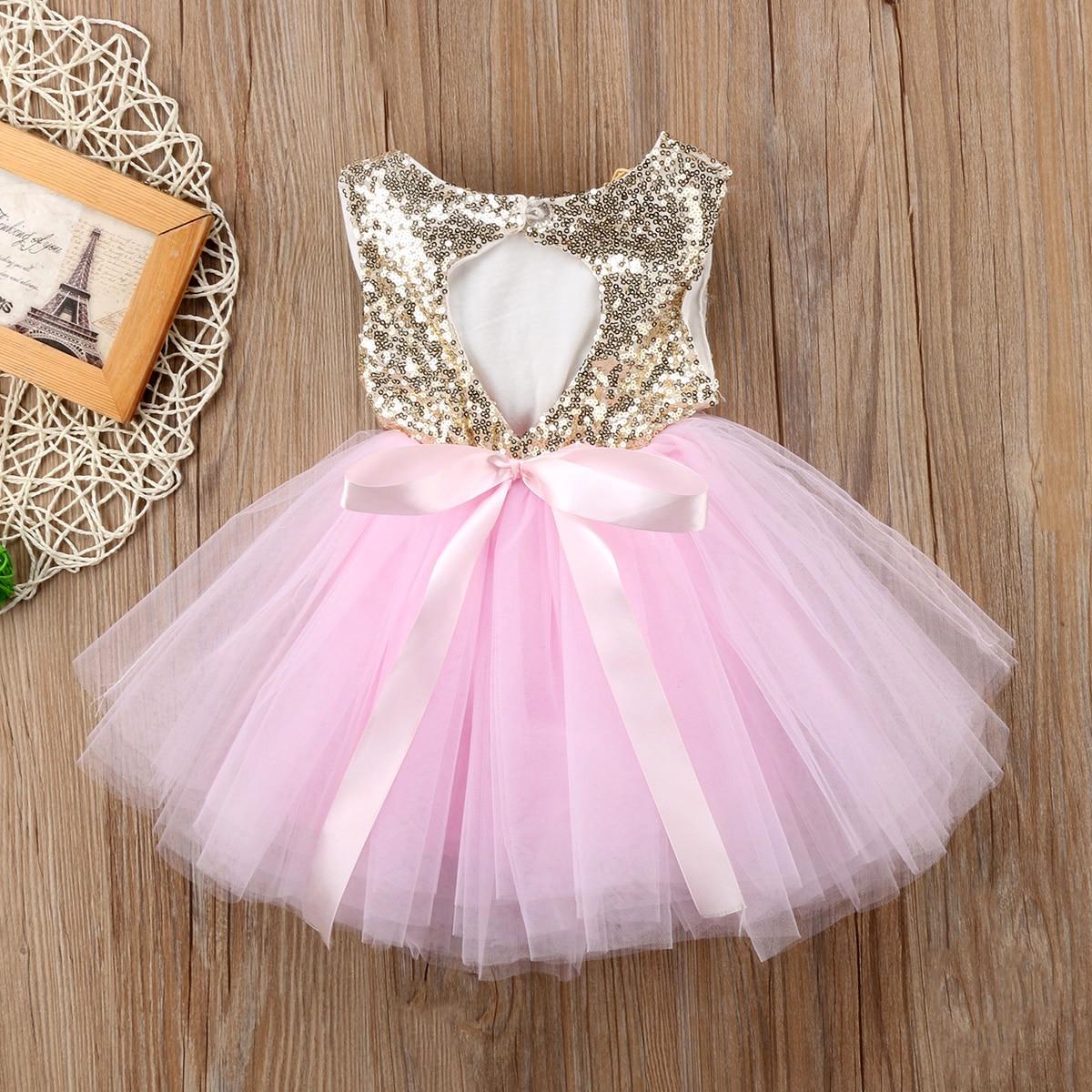 Princess Kids Baby Dress For Girls Fancy Wedding Dress Sleeveless Sequins Party Birthday Baptism Dress For Girl Summer Dresses