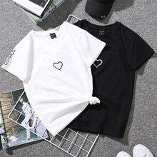 2019 New T-Shirt Fashion Women'S Casual Summer Short Sleeve Couple Heart Cotton Black Cozy T-Shirt Size Plus Xxl O-Neck Tops