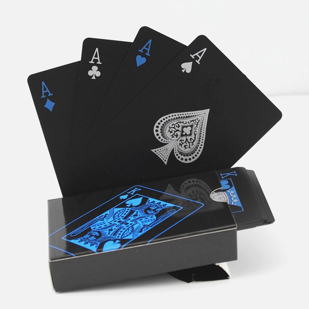 Waterproof Poker PVC Playing Cards Set Trend 54pcs Deck Poker Game Classic Magic Tricks Tool Pure Color Black Magic Box-packed
