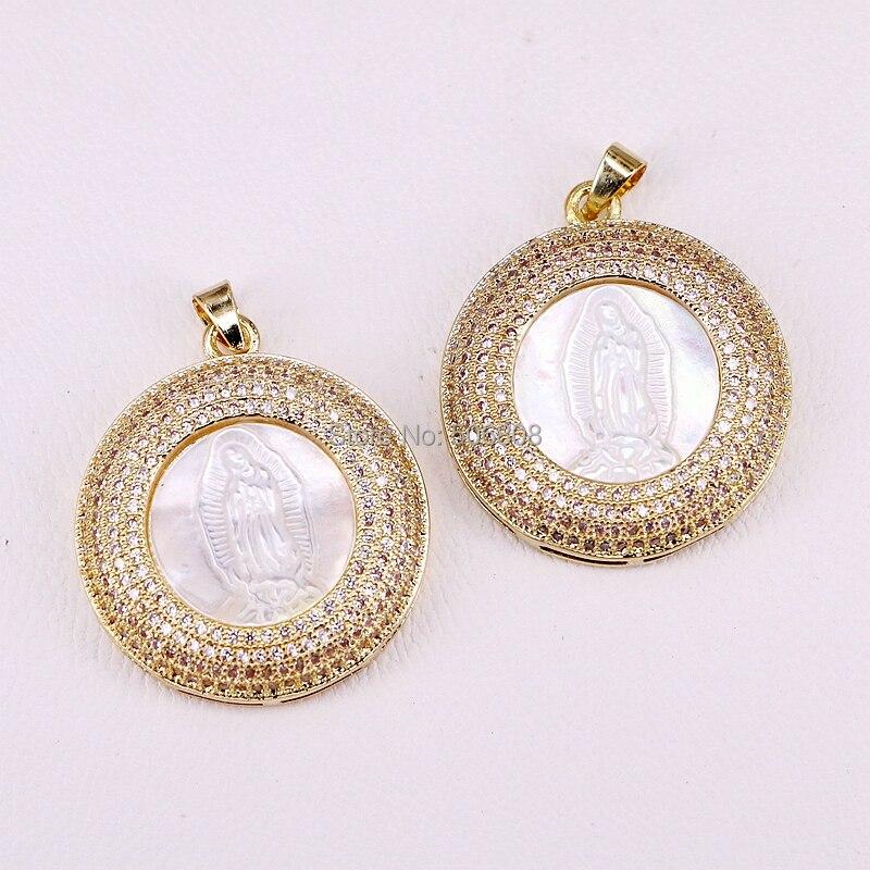 4 círculo de PCs Jesús blanco colgante de Concha de Oro/plata Color CZ Pave de alta calidad colgante