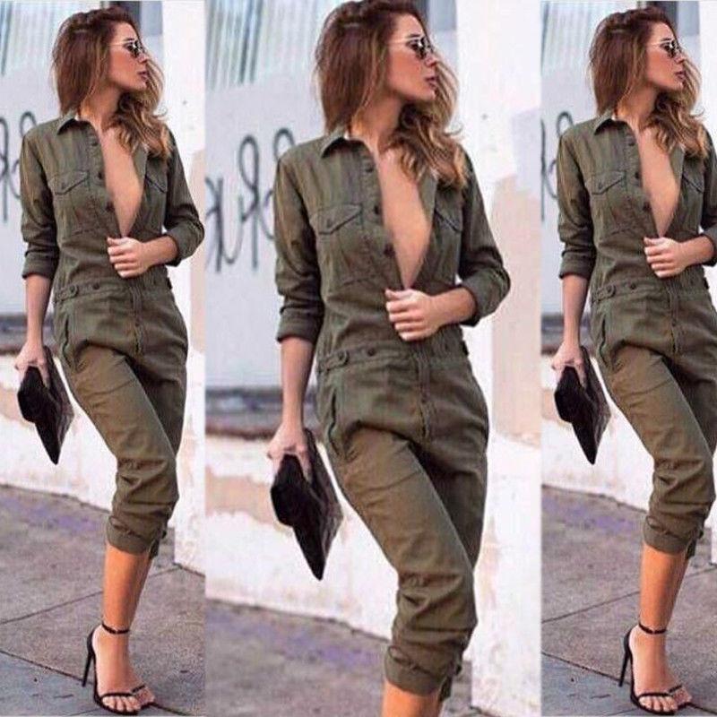 De moda mono Cargo hebilla de cinturón militar mameluco cremallera frontal de monos de rayas verde de manga larga Mujer Pantalones Streetwear mono