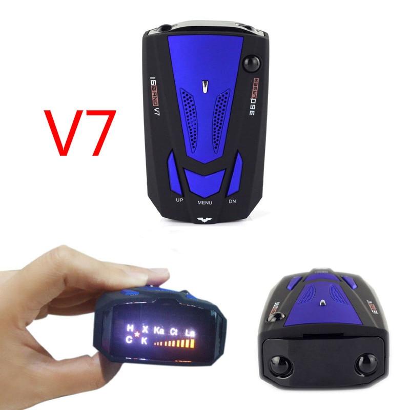 Car Radar Detector V 7 English Russian Auto 360 Degree Vehicle V7 Speed Voice Alert Alarm Warning 16 Band Led Display