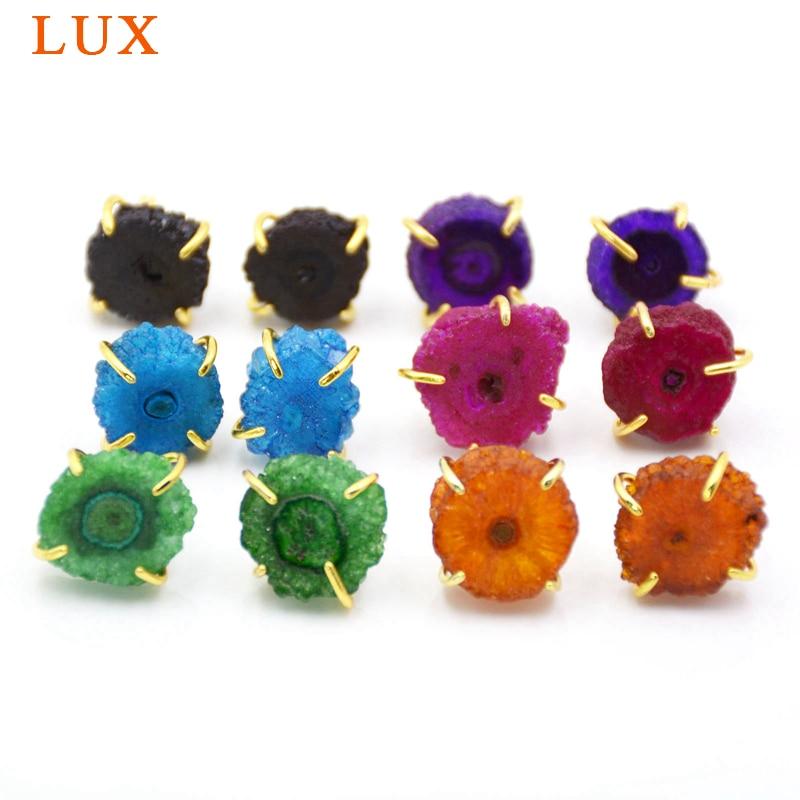 Druzy pendientes de botón joyería fina multi Color Natural cuarzo drusa geoda cristal con cobre dorado sol flor pendientes
