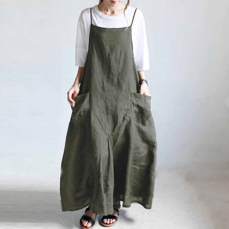 2021 verão zanzea feminino strappy sólido baggy vestido longo maxi macacão vestido casual solto festa sarafans vestido plus size