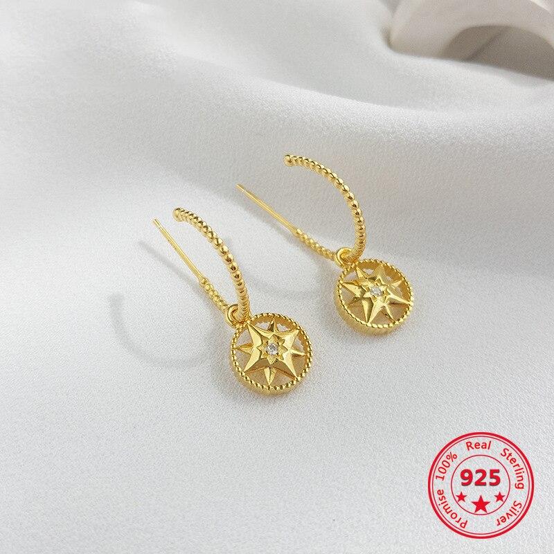 925 brincos de prata esterlina para as mulheres delicada moda bússola de ouro brincos de luxo exclusivo da mulher jóias