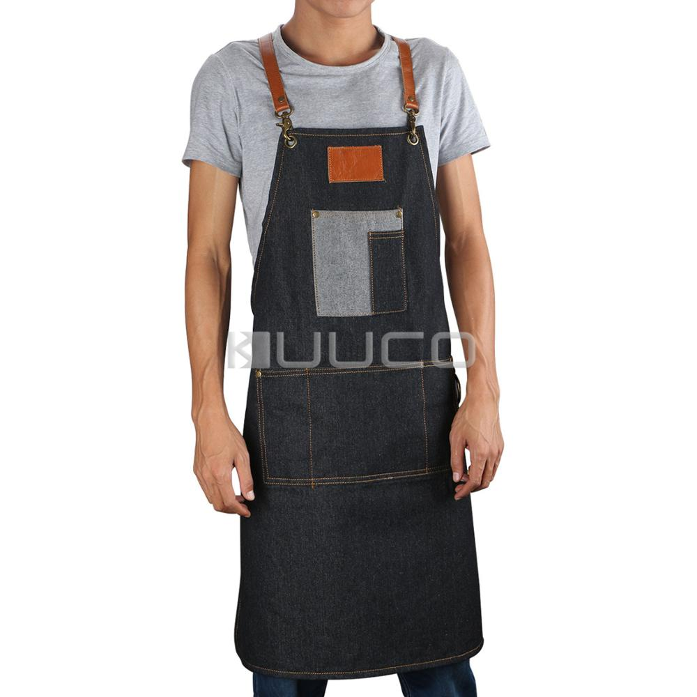 Trabalho denim avental antifouling cowboy chef cozinhar cozinha avental para mulher homem café loja churrasco cabeleireiro