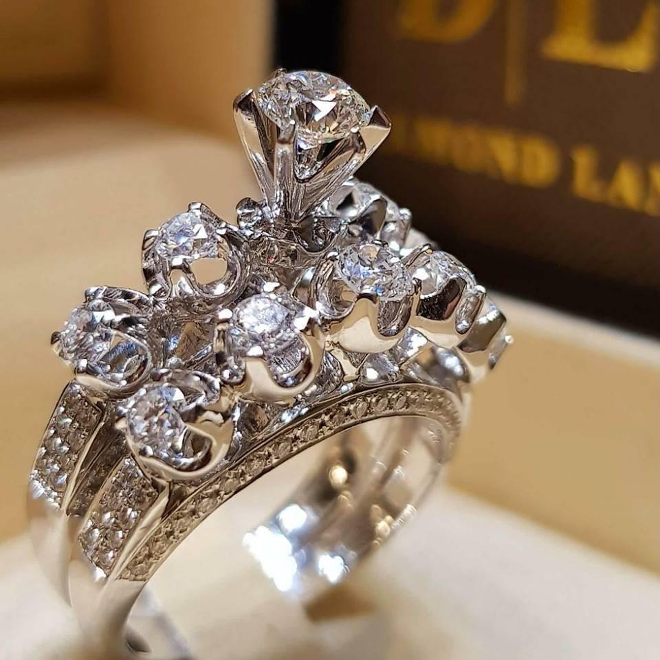 Conjunto de Anillos de diamantes de Color plateado S925, Anillos de diamantes de moda, conjuntos de marca de boda 925, joyería para mujer, anillo de Bisutería