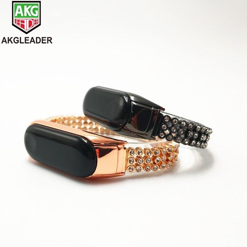 Miband5 4 3 المعصم حزام الماس الفولاذ المقاوم للصدأ سلسلة المعصم العصابات ل Xiaomi الفرقة 3 4 مربط الساعة ل مي الفرقة 2 Correas دي Reloj