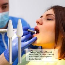 12pcs/Pack Flame Mounted White Stone Dental Lab Polishing Burs Ceramic Finishing Stone Dental Materials