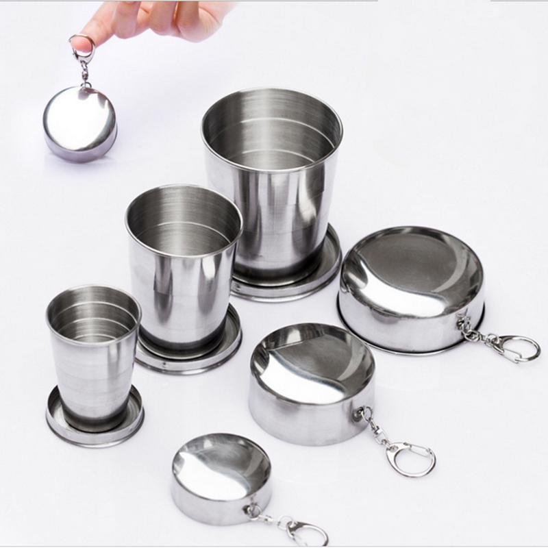 Складные чашки для дома из нержавеющей стали, складная чашка для кемпинга, портативная складная чашка для путешествий на открытом воздухе с...