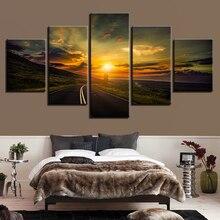 Cuadro de impresión moderno Modular lienzo pintura arte 5 piezas carretera puesta de sol paisaje Natural póster decoración sala de estar pared cuadros