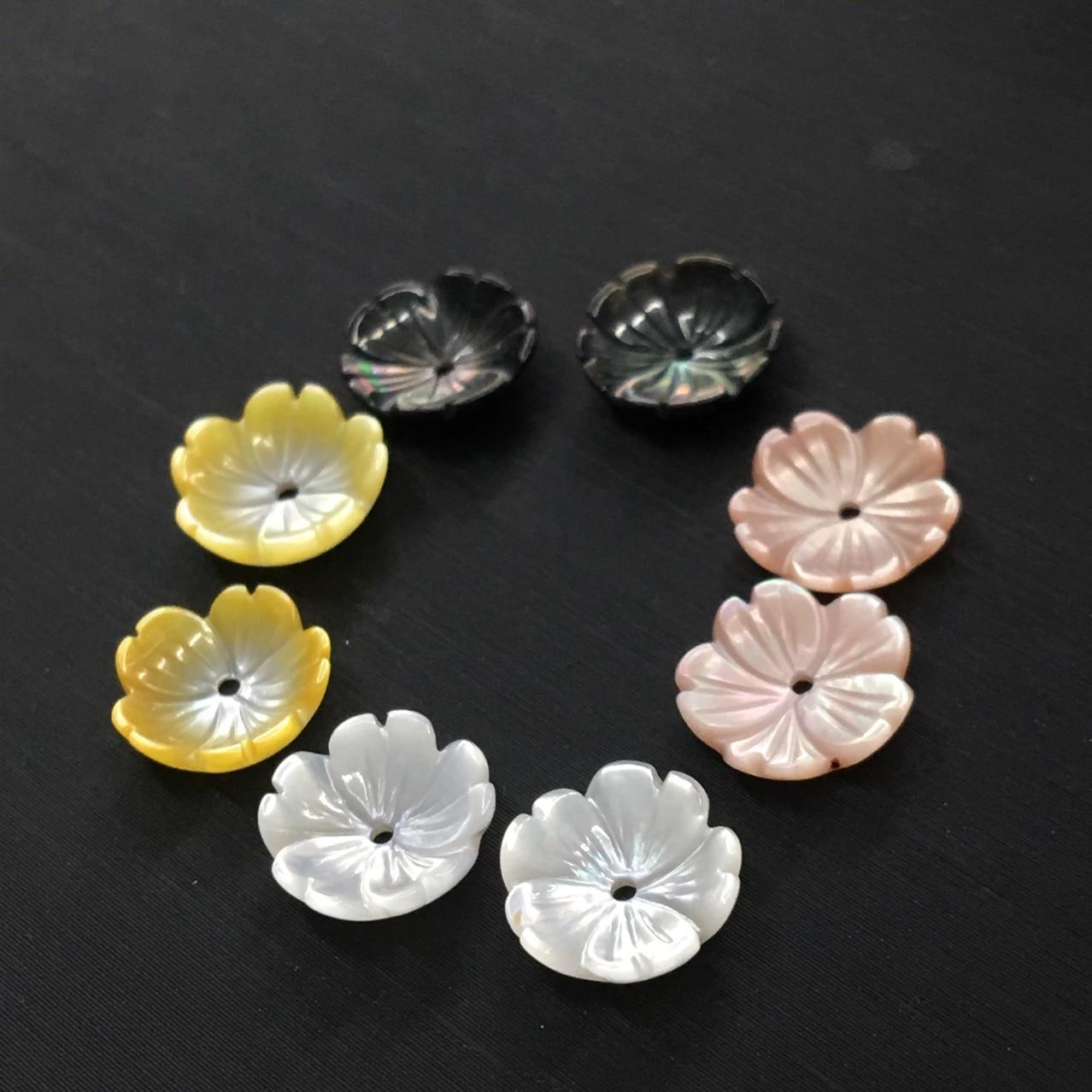 10 Uds. Modelos de pendientes de flores de concha de cinco pétalos de cuatro colores diy pulsera de abalorios de joyería suelta accesorios 8-10mm