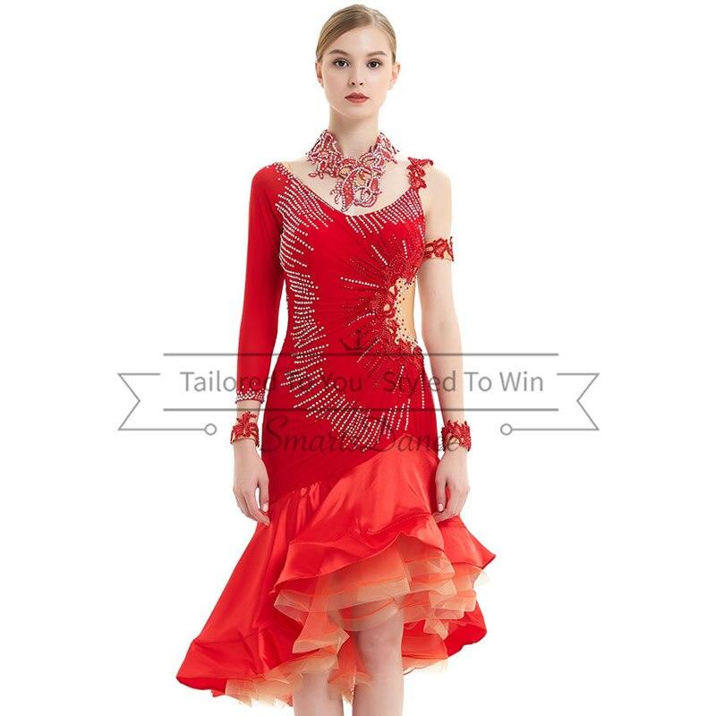 Vestido de baile chachachá que aplique de lentejuelas trajes de baile swing traje de salsa sexy vestido latino de venus hecho a medida envío gratis