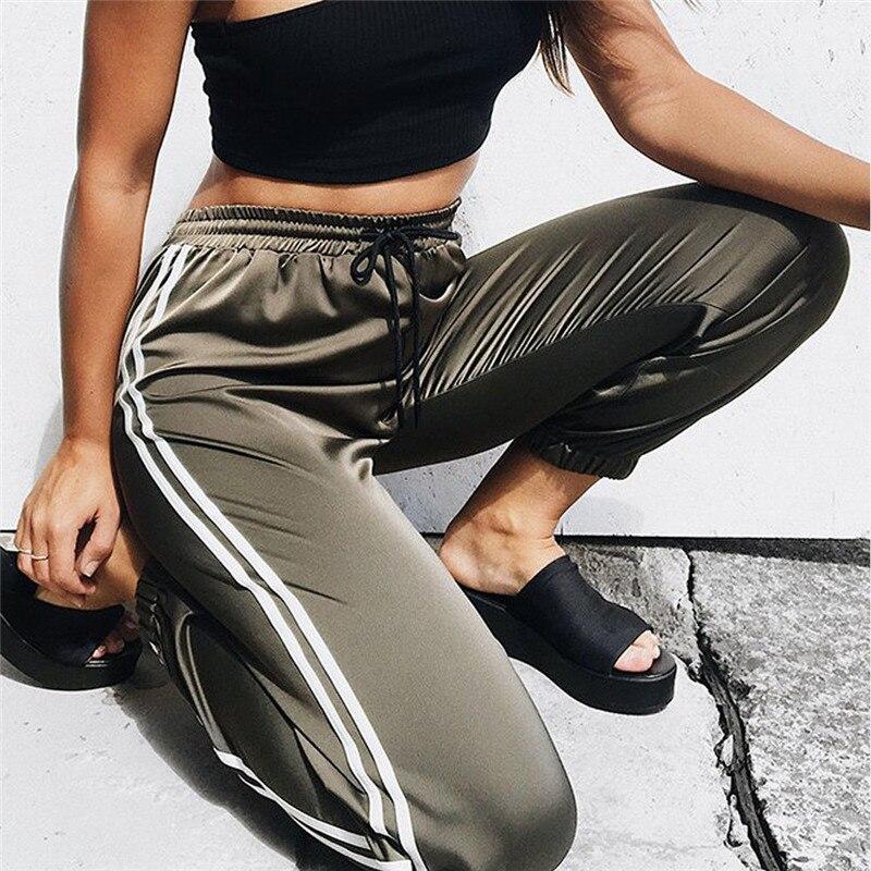 Pantalones de chándal de primavera 2018, pantalones harén informales para mujer, pantalones holgados para mujer, pantalones para el sudor de raya lateral negra, M-XL de talla grande para mujer