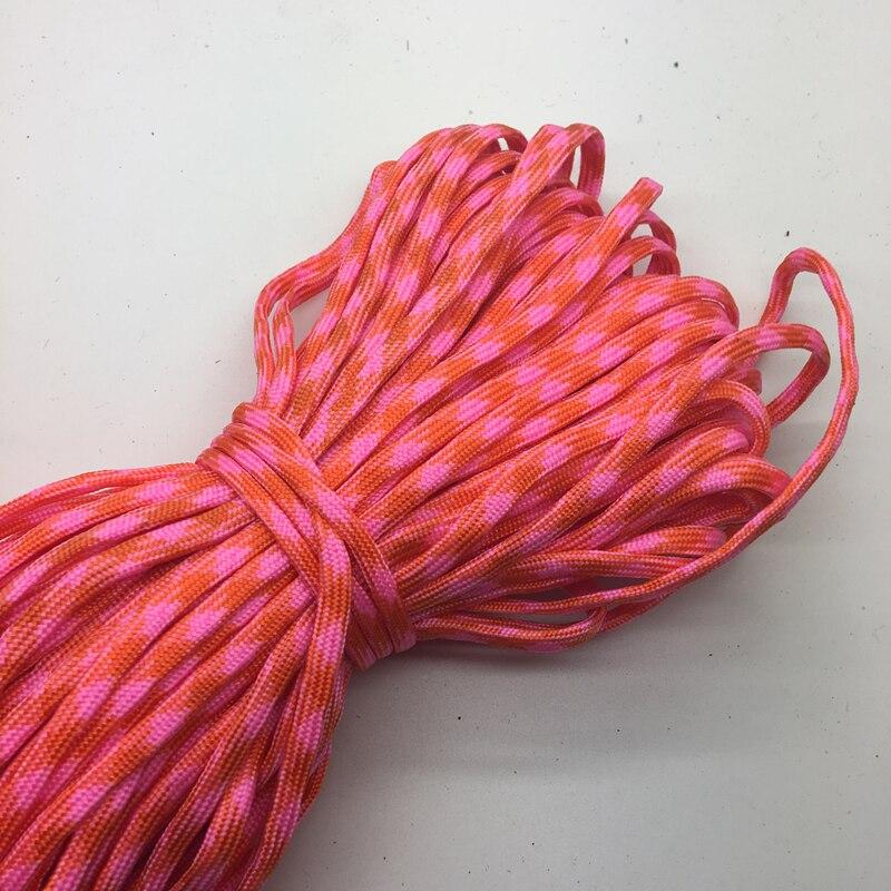10 yardas/lote color mixto Paracord pulsera de soga cuerda de paracaídas de 7 hebras CAMPING senderismo naranja + rosa