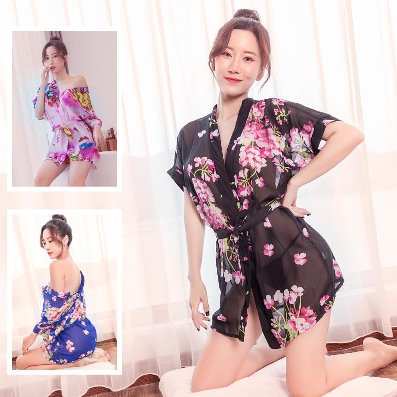 Черный цветочный принт шифоновые халаты кимоно Униформа Искушение Сексуальное