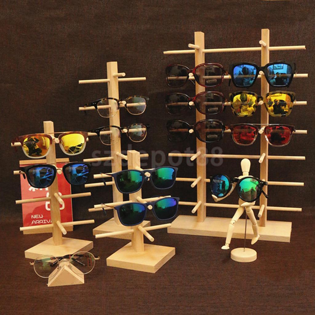 Wooden Sunglass Eyeglass Frame Rack Display Counter Stand Holder Organizer 3/4/5/6-Layer